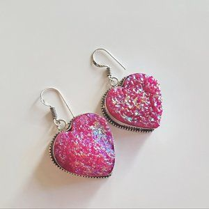 Jewelry - Handmade Pink Druzy 925 Sterling Earrings NWOT